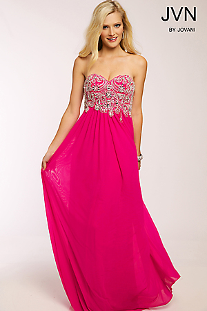 JVN20365 -   Dazzling chiffon empire waist dress features a crystal embellished bodice and sweetheart neckline          Colors available - Fuchsia, Grey, Turquoise