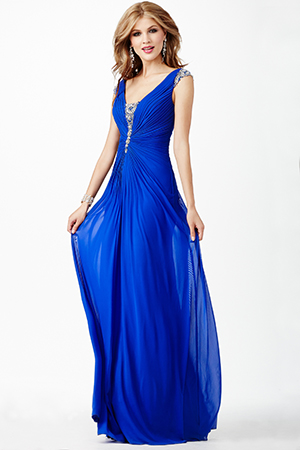 JVN27556 -   Stunning sleeveless gown features a crystal embellished v-neckline and a rouched waist          Colors available - Red, Royal, White