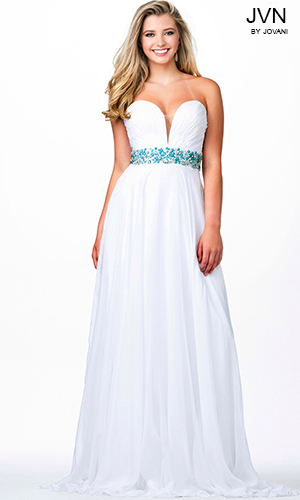 JVN32108 -  Long chiffon gown accented with beautiful blue beading.  Colors available - White/Blue beading, Black/Blue beading