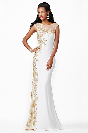 JVN98300 -   Gorgeous white jersey dress features a sheer neckline embellished with gold adornments    Colors available -   Black/Nude, Red/Nude, White/Nude