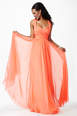 JVN94199 -   Elegant sleeveless chiffon dress features a ruched bodice and sweetheart neckline   Colors available -  Coral, Emerald, Royal, Ruby