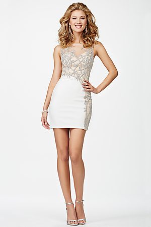 JVN27941 -   Gorgeous sleeveless form fitting cocktail dress features an open back and crystal embellishments    Colors available - Black/Nude, White/Nude