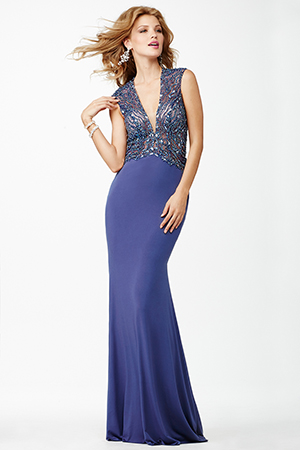 JVN27818 -  long gown with low v neckline and open back  Colors available - Ink, Light Silver
