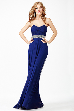 JVN27139 -  B eautiful strapless long dress features a sweetheart neckline and crystal embellished waistline adornment    Colors available - Blush, Navy
