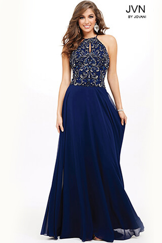 JVN33700 -  Elegant  gown with beaded bodice  Colors available - Charcoal, Navy, Blush, Red