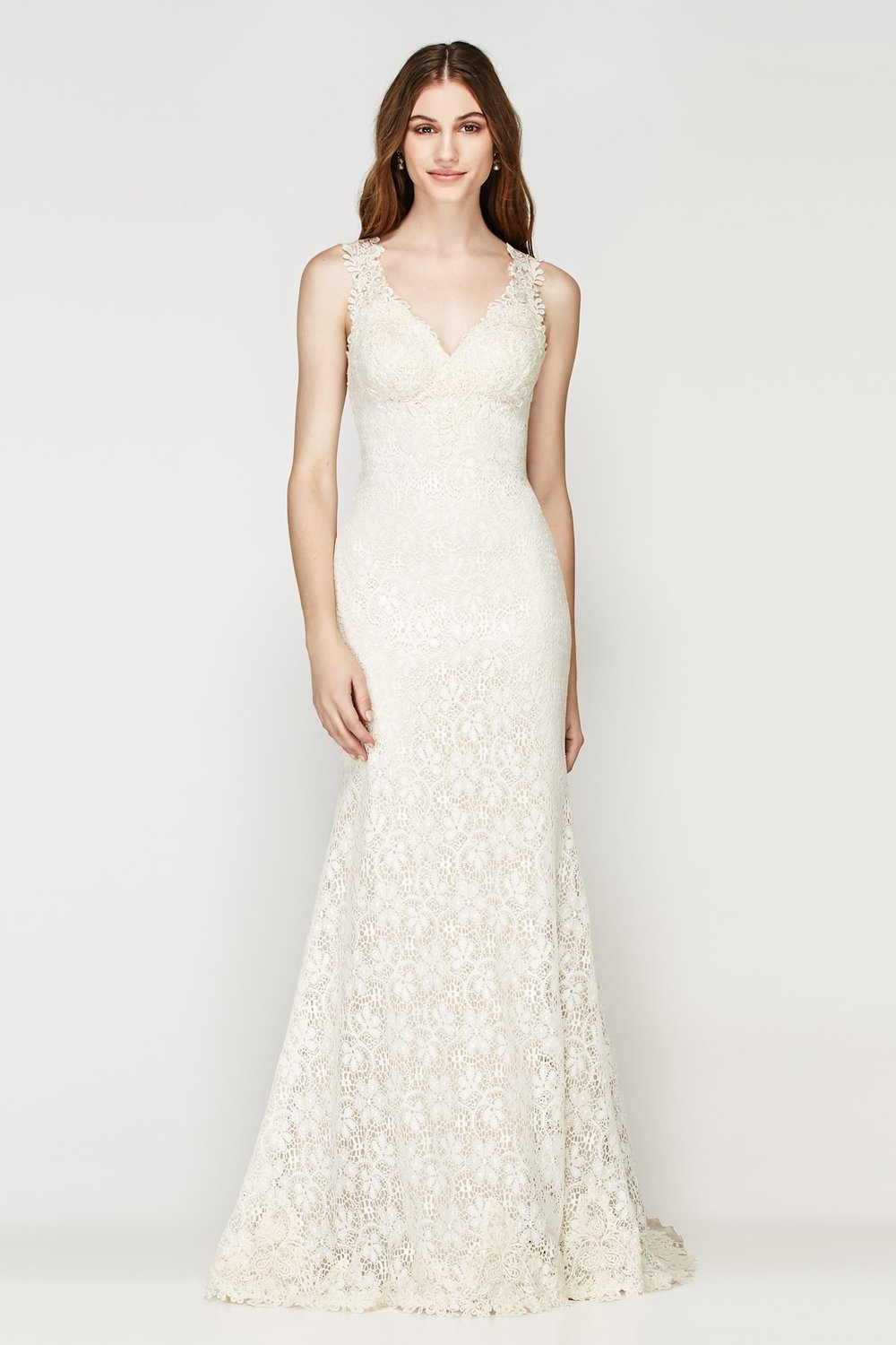 Petra -  Stunning long lace gown with an illusion back and v neckline  Colors available - Oatmeal