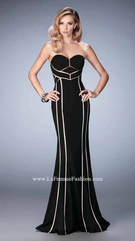 LaFemme 22205 -  Modern jersey gown with captivating paneling design. The gown features a sweetheart neckline and a diamond open back. Back zipper closure.  Colors available -  Black, Ivory