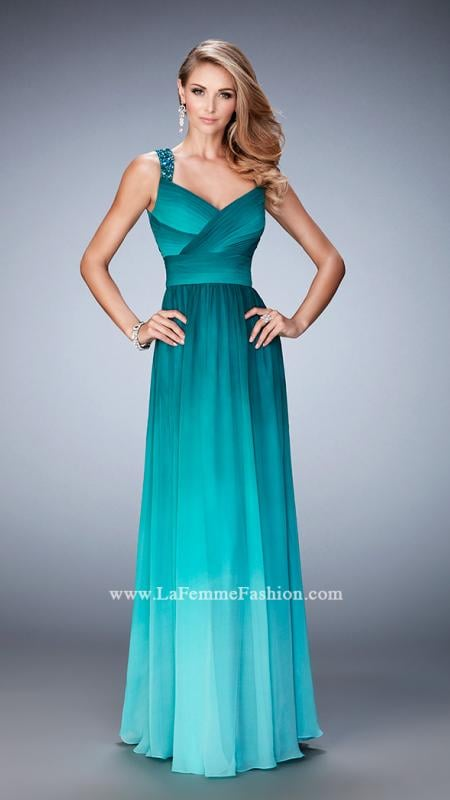 LaFemme 22432 -   Alluring ombre chiffon gown with a gathered bodice and crystal encrusted straps. Back zipper closure.    Colors available - Jade, Royal/Aqua