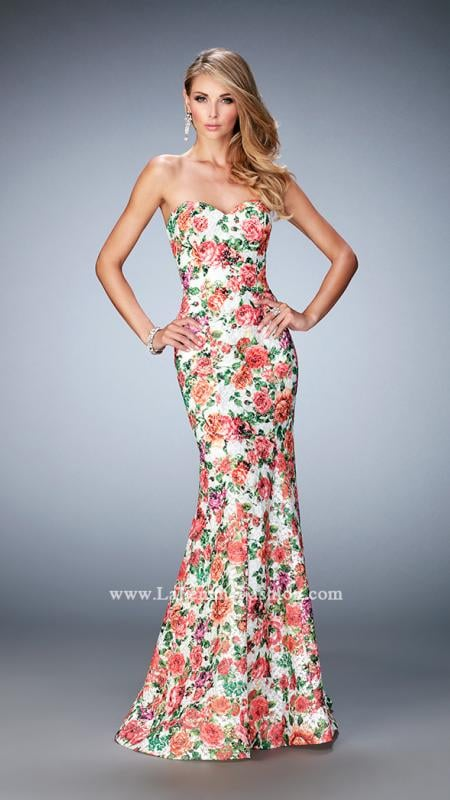 LaFemme 22820 -   Beautiful floral printed mermaid gown with a sweetheart neckline Back zipper closure.    Colors available - Multi