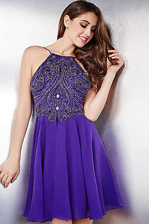Jovani 32721 -  Stunning sleeveless chiffon short dress features a beaded bodice with a keyhole opening  Colors available - Charcoal, Nude, Purple