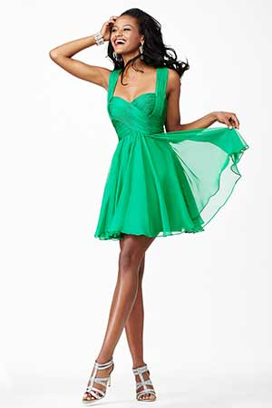 JVN94200 -  Fun and flirty short chiffon dress with straps  Colors available -    Coral, Emerald, Purple, Ruby