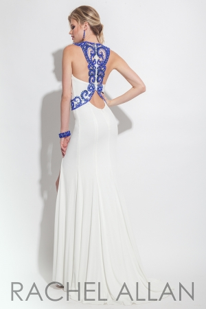 Rachel Allan 6136 -   Fitted jersey dress with beaded top and belt, and racer back     Colors available - White/Royal, Red/Silver