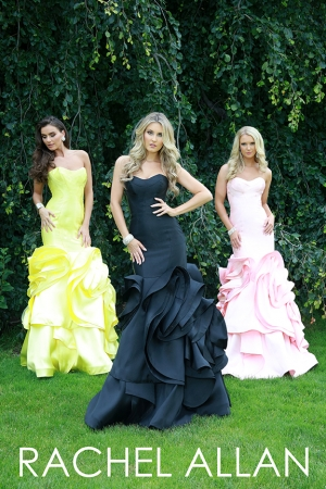 Rachel Allan 8140 -   Strapless mikado gown with decorative bottom    Colors available - Black, Yellow, Pink
