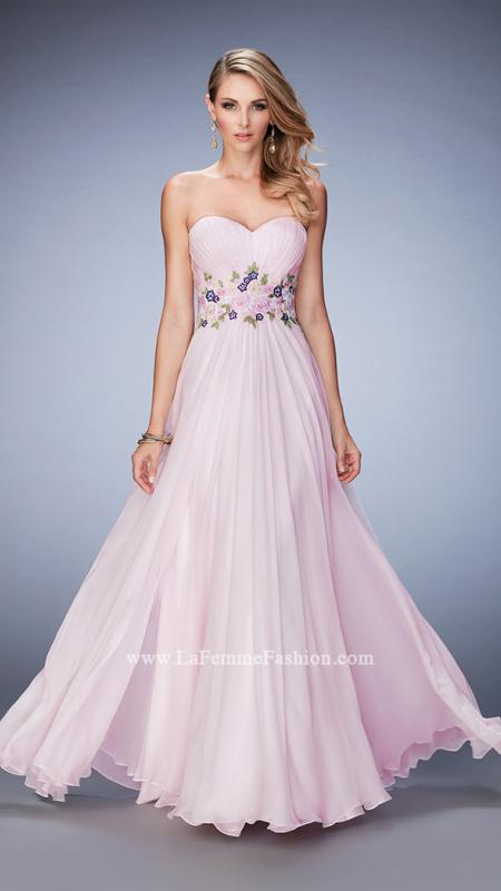 LaFemme 22731 -   Graceful chiffon gown with a sweetheart neckline. The gown has a gathered bust line with a multicolor lace belt. Back zipper closure.    Colors available - Pale Pink
