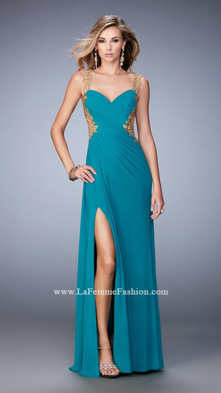 LaFemme 22616 -   Elegant net gown with sweetheart neckline and side slit. The gown features an open back with gold embroidery on the sides, shoulders, and back. Back zipper closure.    Colors available - Black, Dark Papaya, Teal