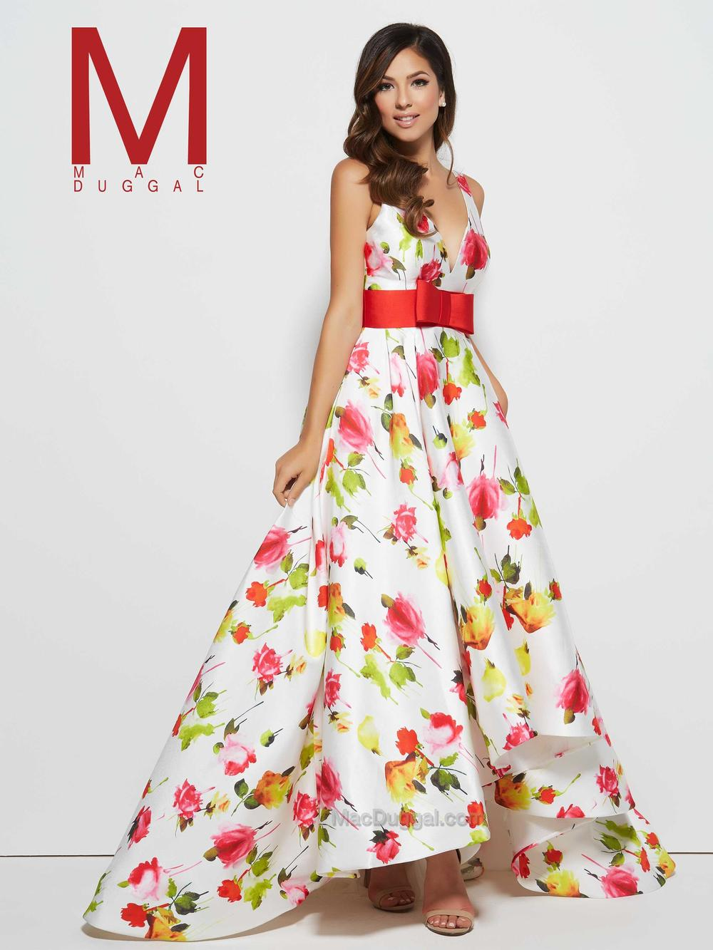 Mac Duggal 30273 - H igh low print gown accented with a sash and bow  Colors available - White/Multi