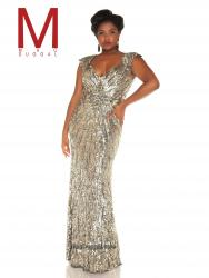 Mac Duggal 4371 -  Dressed to the nines and ready to dance the night away, you will looks absolutely amazing in this all sequined gown. The V neckline with wide shoulder straps is totally comfortable and gives you that body flattering look. Adding more comfort, the empire waist flatters your figure as well and shows off your sexy curves. The gold and platinum colors on this prom dress with definitely turn heads. Get ready to spend the whole night dancing away your cares in this sparkling prom dress.  Colors available - Platinum/Gold