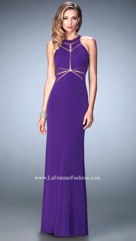 22259  -  Captivating jersey gown with stylized geometric cut out bodice and unique sheer racer back. Back zipper closure.    Colors Available- Lime, Navy, Neon Grapefruit, Red, Royal Purple