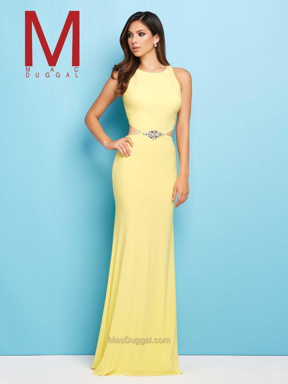 65495  - Think of all the looks of adoration you will get when you step into the room with this jersey prom gown with side cut outs.  A classy stone center cluster at the waist gives an element of sparkle.  Available in two hot colors of the season lemon or indigo.    Colors Available- Lemon