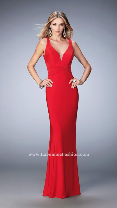 "22060  -  Sophisticated jersey gown with ""V"" neckline and gathered waistband. The back is open with a deep ""V"" and features a modest train. Back zipper closure.    Colors Available - Black, Forest Green, Red, Sapphire Blue"