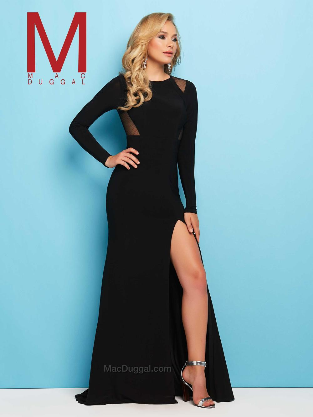 65524  -Far from dull, this long sleeved formal gown is perfect for prom or any special occasion. Sheer illusion cutouts on shoulders and on the sides of the bodice make a fashion forward statement.  Stay in style and keep your look chic and sophisticated with this jersey prom gown in either the black or red.   Colors Available - Black, Red
