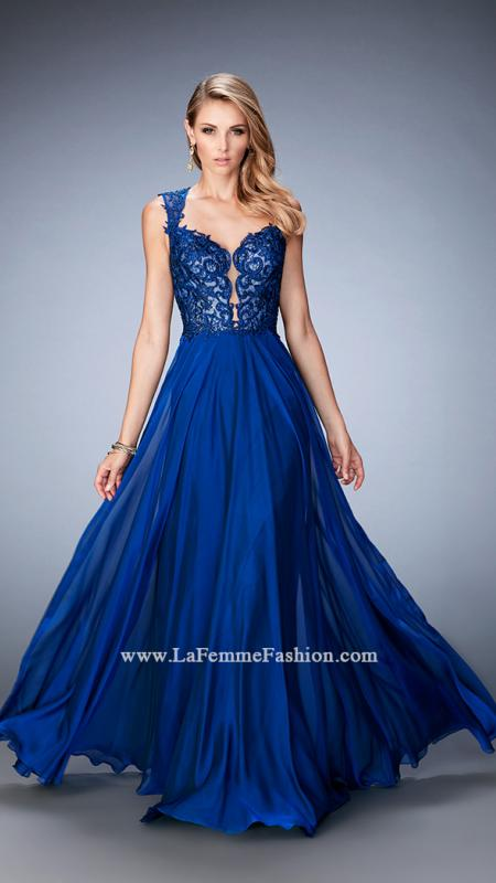 22791 -  Enchanting chiffon gown with a plunging sweetheart neckline and a stunning keyhole back. The bodice is embellished with tonal embroidery. Back zipper closure.  Colors available - Cranberry, Marine Blue