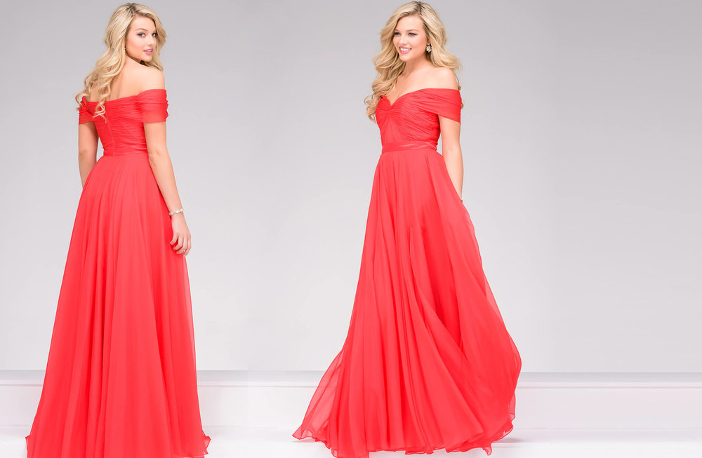 42003-  Long off the shoulder chiffon gown.  Colors available - Black, Coral, Emerald, Navy, Royal, White