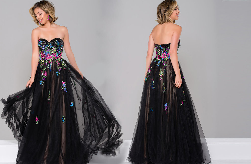 JVN41428 -  Strapless ball gown with sweetheart neckline and multi colors.  Colors available - Black/Multi