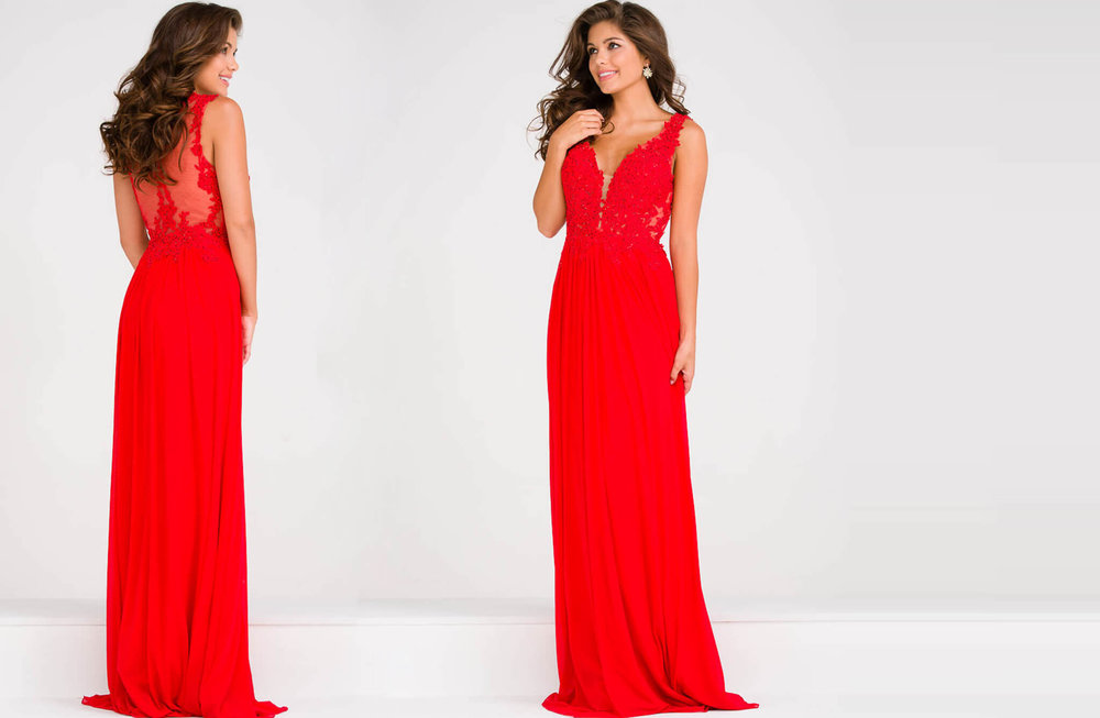 JVN41466 -  Long chiffon gown with lace bodice and straps  Colors available - Gunmetal, Red, Royal, White