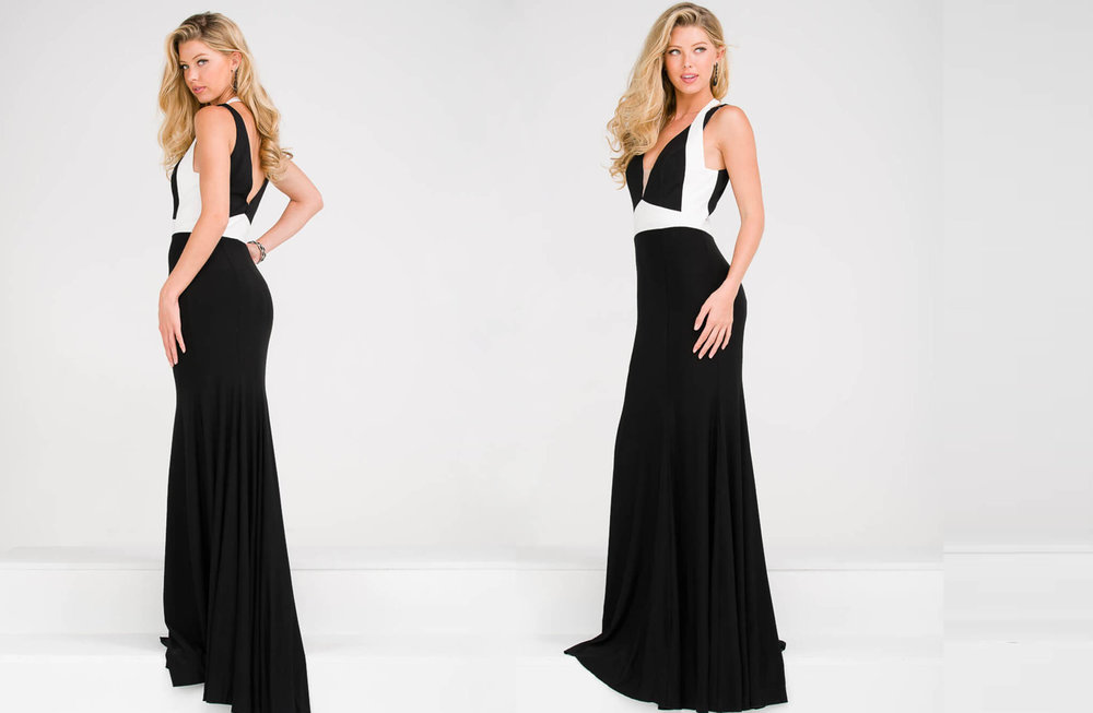 JVN49519 -  2 tone long dress with straps