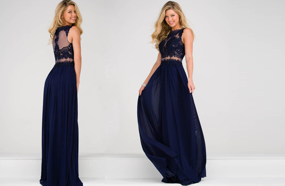 JVN47788 -  Long gown with lace and sheer middle