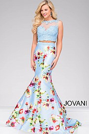 49989 -  2 piece long mermaid gown accented with a lace beaded top.  Colors available - Blue/Print