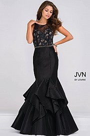JVN50200 -  Black Sleeveless Sheer Embellished Neckline Mermaid Dress   Colors available- Black