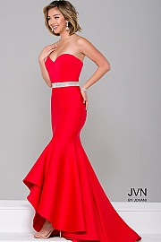 JVN41956 -   Red hot sweetheart neckline scuba dress features a jeweled natural waistline and concealed back zipper    Colors available - Black, Red, Royal