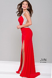 JVN47030 -   Elegant backless form fitting prom gown features a sexy thigh high slit and crystal adornments    Colors available - Black, Red