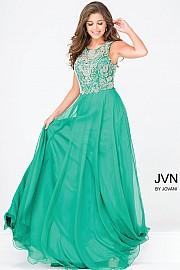 Jvn48709 -   legant A-line with an embellished bodice and chiffon skirt.     Colors Available - Grey, Green, Royal