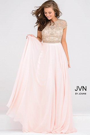 VN47897 -  mbellished cap sleeve prom gown with illusion waist line and chiffon skirt.     Colors Available - Navy, Soft Pink