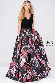 JVN47924 -  loral print ball gown with black lace bodice and straps.  Colors Available - Black/Multi