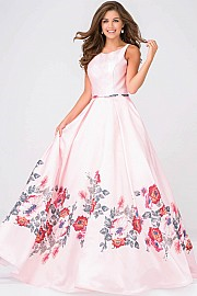 VN49478 -  Long ball   gown with a floral print satin skirt.     Colors available - Pink