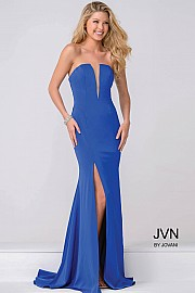 VN49580 -  trapless gown with plunging neckline with a slit.     Colors Available - Black, Red, White. Royal