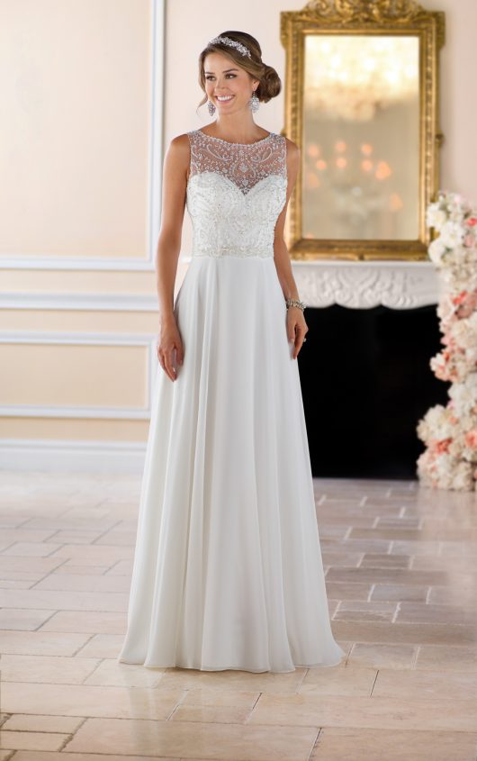 6423 -   this beaded high neck wedding dress is a fresh, fashion forward bridal look with a timeless twist. Capri chiffon over Lavish satin in a casual column silhouette with an ornately beaded neckline is both comfortable and stylish.    Colors available - Off white, White