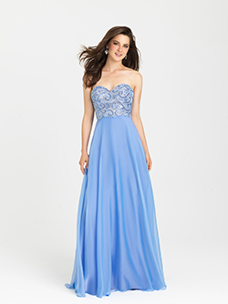 16-303 -  Long Chiffon Gown with strapless fully beaded bodice.      Colors Available - Blue/Purple, White/Multi, Periwinkle
