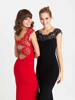 16 319 -  Long Jersey gown with lace high neckline and a double keyhole back.      Colors Available - Red, Black, Royal