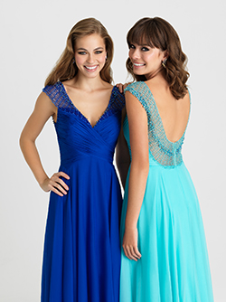 16-334 -  Long Chiffon gown With beaded straps and a low back.      Colors Available - Peach, Royal, Water