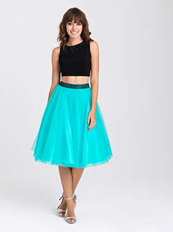 16-339 -  Short two-piece tulle prom gown with beaded belt.      Colors Available - Black/Teal