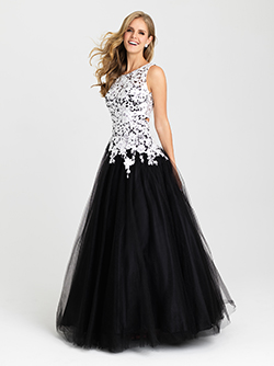 16-342 -  Long tulle prom gown with lace straps and a double keyhole back.      Colors Available - Black/White