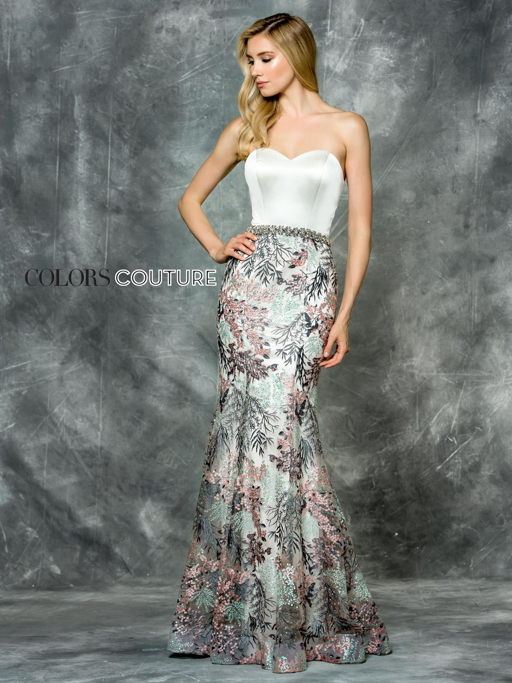 J033 -  Long White/Multi lace dress with fitted skirt and a strapless bodice.      Colors Available - White/Multi