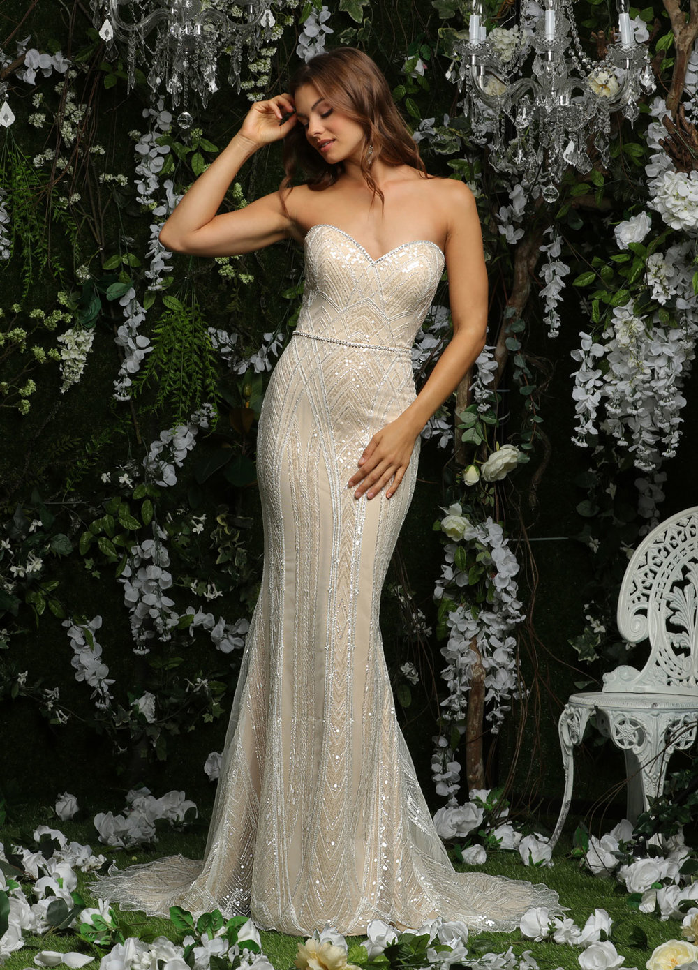 10477 -  Fully beaded Sheath style wedding gown with a beaded belt.      Colors Available - White, Ivory, Ivory/Nude, Ivory/Blue