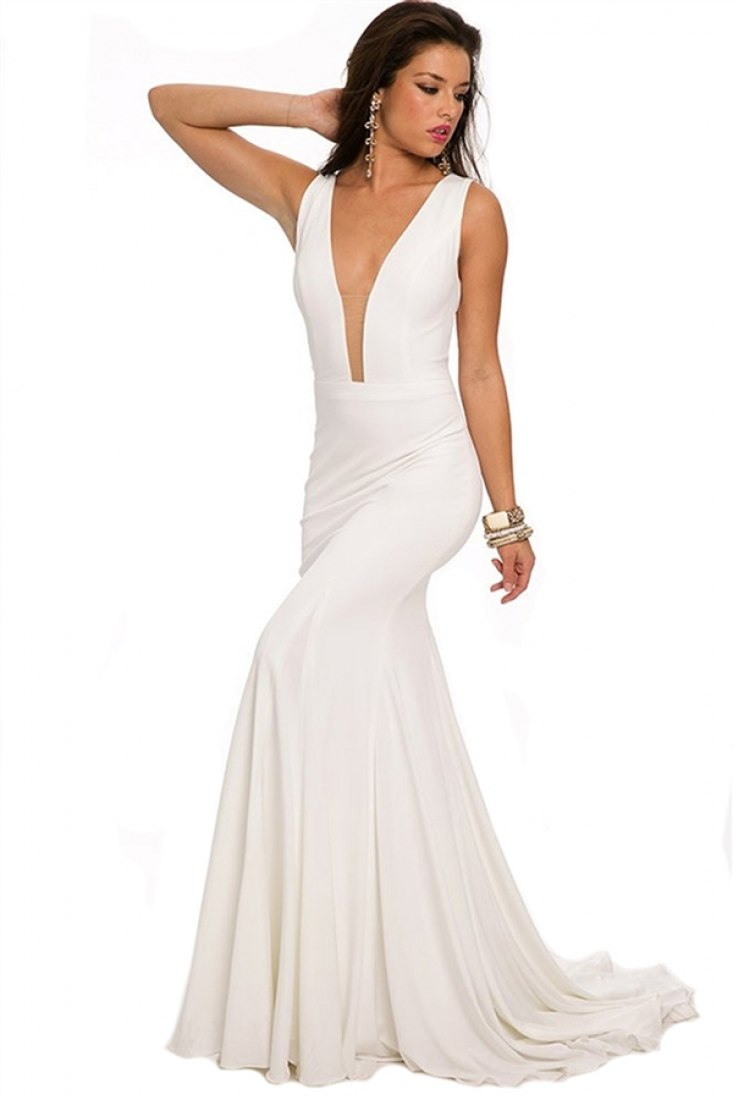 22884 -   Gorgeous sleeveless jersey dress feature a plunging neckline and back    Colors Available: Black, Buttercup, Cobalt, Navy, Off-White, Papaya, Red