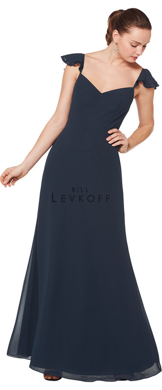 1610 -  Chiffon V-neck gown with chiffon and lace flutter cap sleeves. A-line skirt    Available in 43 colors